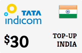 $30.00 Tata Indicom India Prepaid Wireless Top-Up