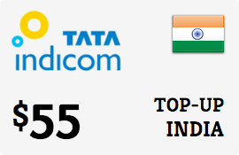 $55.00 Tata Indicom India Prepaid Wireless Top-Up