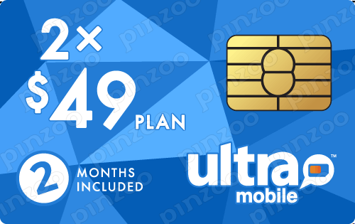 $108.00 Ultra Mobile® Prepaid Wireless SIM Cards