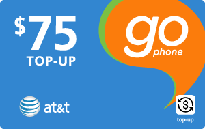 Buy the $75.00 AT&T Go Phone® Real Time Refill Minutes | On SALE for Only $74.68