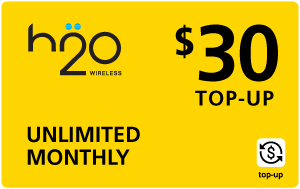 Buy the $30.00 H2O Wireless® Real Time Refill Minutes   On SALE for Only $29.89