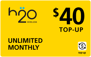 Buy the $40.00 H2O Wireless® Real Time Refill Minutes   On SALE for Only $39.89