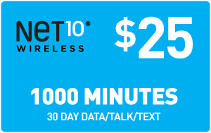 $25.00 Net10® Refill Minutes Instant Prepaid Airtime