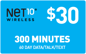 $30.00 Net10® Refill Minutes Instant Prepaid Airtime