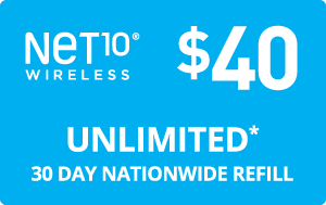 Buy the $40.00 Net10® Refill Minutes Instant Prepaid Airtime | On SALE for Only $40.00