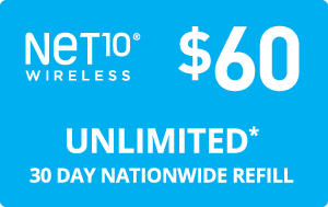 $60.00 Net10® Refill Minutes Instant Prepaid Airtime