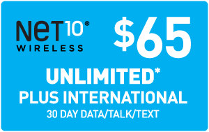 $65.00 Net10® Refill Minutes Instant Prepaid Airtime