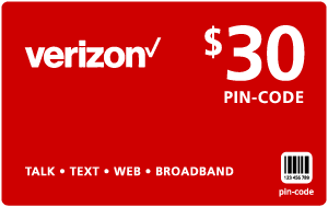 $29.89 Verizon Wireless® Refill Minutes Instant Prepaid Airtime