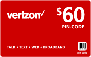 Buy the $60.00 Verizon Wireless® Refill Minutes Instant Prepaid Airtime | On SALE for Only $59.79