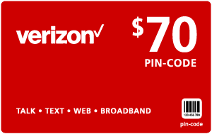 $69.79 Verizon Wireless® Refill Minutes Instant Prepaid Airtime