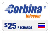 Buy the $25.00 Corbina Telecom Russia Real Time Refill Minutes | On SALE for Only $24.59
