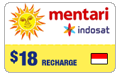 $18.00 Mentari Indosat Indonesia Real-Time Refill