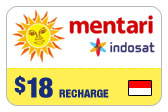 Buy the $18.00 Mentari Indosat Indonesia Real Time Refill Minutes | On SALE for Only $18.00