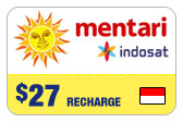 Buy the $27.00 Mentari Indosat Indonesia Real Time Refill Minutes | On SALE for Only $27.00