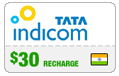 $30.00 Tata Indicom India Real-Time Refill