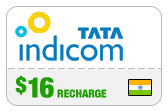 Buy the $16.00 Tata Indicom India Real Time Refill Minutes | On SALE for Only $16.00