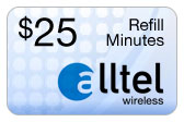 Buy the $25.00 Alltel Wireless Refill Minutes Instant Prepaid Airtime | On SALE for Only $24.95