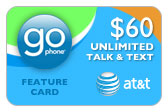 Buy the $60.00 AT&T Go Phone Feature Card | On SALE for Only $57.99