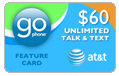 $57.99 AT&T Go Phone Feature Card