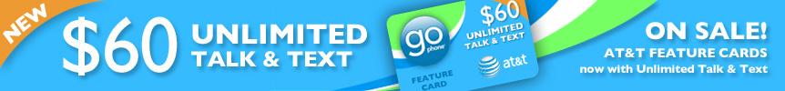 AT&T Go Phone Feature Cards with Unlimited Talk and Text now on sale