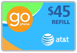 Buy the $45.00 AT&T Go Phone Real Time Refill Minutes | On SALE for Only $43.99