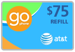 Buy the $75.00 AT&T Go Phone Real Time Refill Minutes | On SALE for Only $72.99
