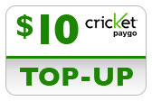 Buy the $10.00 Cricket PAYgo Refill Minutes Instant Prepaid Airtime | On SALE for Only $9.99
