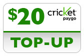 Buy the $20.00 Cricket PAYgo Refill Minutes Instant Prepaid Airtime | On SALE for Only $19.89
