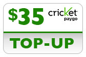 Buy the $35.00 Cricket PAYgo Refill Minutes Instant Prepaid Airtime | On SALE for Only $34.79