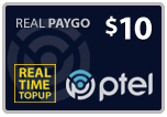 $9.95 PlatinumTel (Ptel) TopUp Real-Time Refill