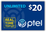 $19.89 PlatinumTel (Ptel) TopUp Real-Time Refill