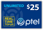 $24.79 PlatinumTel (Ptel) TopUp Real-Time Refill