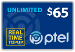 $64.19 PlatinumTel (Ptel) TopUp Real-Time Refill