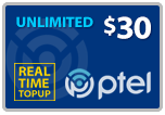 $29.89 PlatinumTel (Ptel) TopUp Real-Time Refill