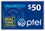 $49.65 PlatinumTel (Ptel) TopUp Real-Time Refill