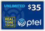 $34.89 PlatinumTel (Ptel) TopUp Real-Time Refill