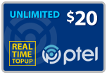 Buy the $20.00 PlatinumTel (Ptel) TopUp Real Time Refill Minutes | On SALE for Only $19.89