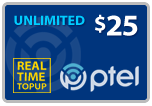 Buy the $25.00 PlatinumTel (Ptel) TopUp Real Time Refill Minutes | On SALE for Only $24.79
