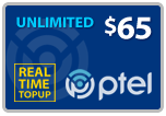 Buy the $65.00 PlatinumTel (Ptel) TopUp Real Time Refill Minutes | On SALE for Only $64.19