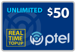 Buy the $50.00 PlatinumTel (Ptel) TopUp Real Time Refill Minutes | On SALE for Only $49.65