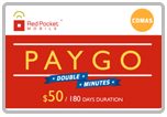 Buy the $50.00 Red Pocket Mobile Refill Minutes Instant Prepaid Airtime | On SALE for Only $49.78