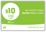Buy the $10.00 Red Pocket<sup>&reg;</sup> Refill Minutes Instant Prepaid Airtime | On SALE for Only $9.95