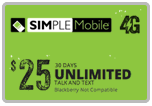 Buy the $25.00 Simple Mobile Refill Minutes Instant Prepaid Airtime | On SALE for Only $24.89
