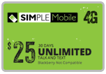 $24.89 Simple Mobile Refill Airtime Minutes