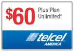 $60.00 Telcel America® Refill Minutes Instant Prepaid Airtime