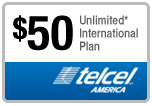 Buy the $50.00 TelCel America Refill Minutes Instant Prepaid Airtime | On SALE for Only $49.88