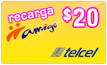 $20.00 TelCel Mexico Real-Time Refill