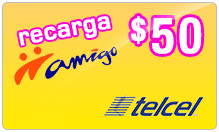 $50.00 TelCel Mexico Real-Time Refill