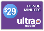 Buy the $29.00 Ultra Mobile Top-Up Refill Minutes | On SALE for Only $28.99