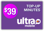 Buy the $39.00 Ultra Mobile Top-Up Refill Minutes | On SALE for Only $38.89